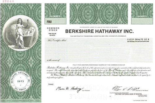 Berkshire Hathaway Inc Specimen Stock Certificate