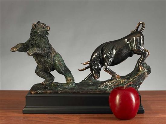 Stock Market Bull Bear Sculpture Fighting Bull And
