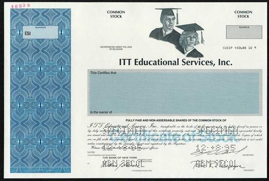 Itt Educational Services Specimen Stock Certificate
