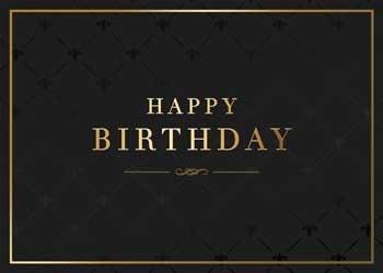 Black Amp Gold Pattern Birthday Card