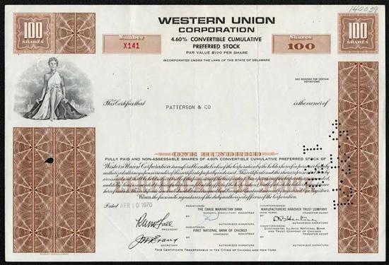 Western Union Corp Preferred Stock Certificate Brown