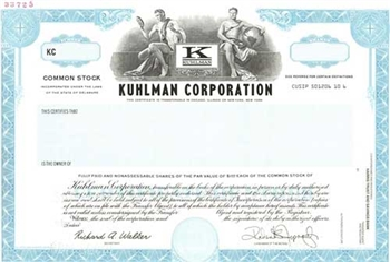 Kuhlman Specimen Stock Certificate