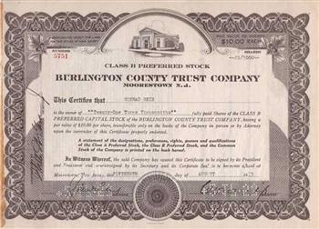 Burlington County Trust Company Preferred Stock