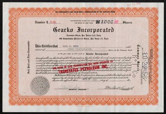 Gearko Inc Preferred Stock Certficate