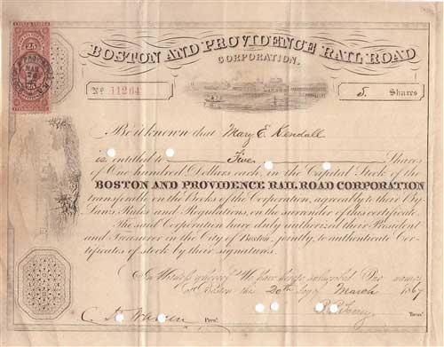 1867 Boston And Providence Railroad Stock Certificate