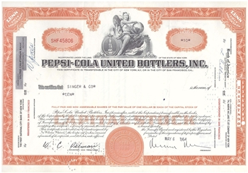 Pepsi Cola United Bottlers Inc Stock Certificate