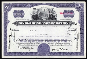 Sinclair Oil Corporation Stock Certificate