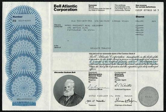 Bell Atlantic Corp Stock Certificate