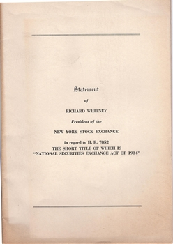 National Securities Exchange Act Of 1934 Statement By
